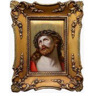 """Painting On Porcelain Plaque, 19th Century """"christ With The Crown Of Thorns"""", After Guido Reni"""
