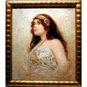 Une jeune beauté par Josef Zenisek (Tchèque, 1855 -1944)