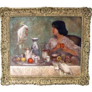 Adolf Wiesner (Tchèque 1871-1942) Petit déjeuner avec perroquet