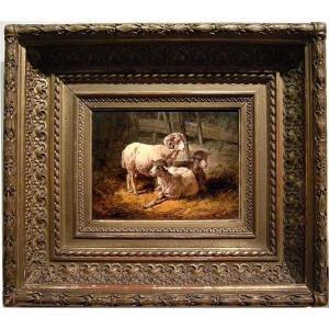 Moutons en décrochage par August Gerasch (autrichien 1822 - 1908)