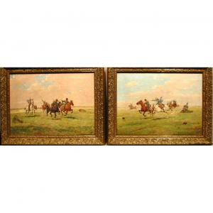 Escarmouche entre cosaques russes et uhlans français, paire de tableaux par G.Kotzbeck,XIXe sie
