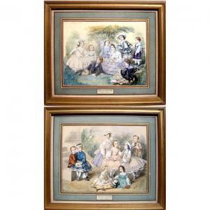 """Paire d'aquarelles """"Mode Second Empire, Jeux d'enfants"""" par HéloïseLeloir-Colin (1820-1873)"""