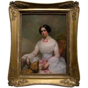 Portraitiste  français, ca. 1840 Portrait d'une jeune femme avec son chien préféré