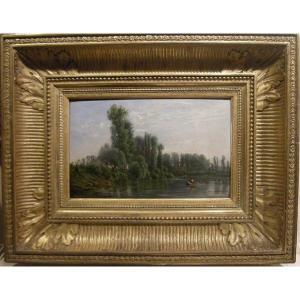 Georges Laujoil de La Fage ( Français 1830 - 1858) Paysage idyllique avec pêcheurs sur la riviè