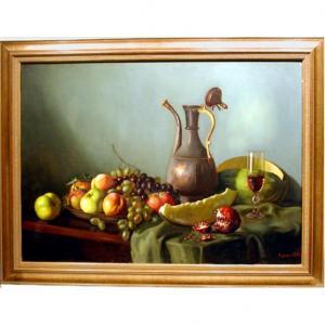 Nature morte à la cruche à vin en tonnelier et aux fruits par A.Chuntomov ( milieu du 20e siè)