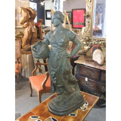 """Sculpture Terre Cuite Chamottée"""" La Porteuse d'Eau"""""""