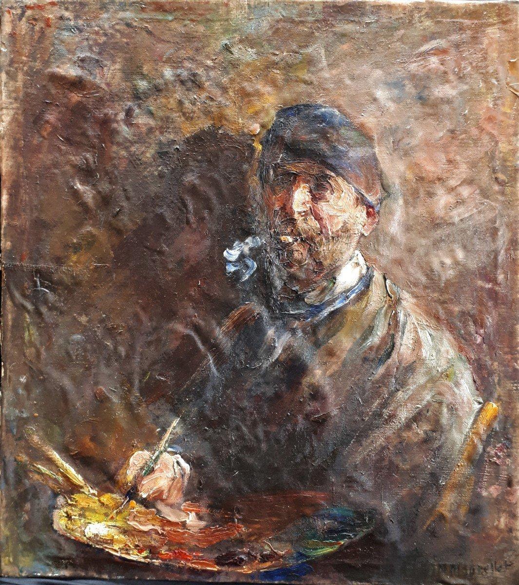 AUTOPORTRAIT de Peintre à la palette.  Mourellet ou Maurellet