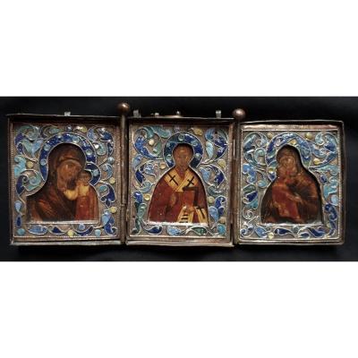 Icône Triptyque de Voyage, Riza émaillée. Icone russe. Vierge de Kazan, Smolensk. St Nicolas. Icon.