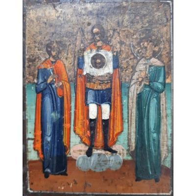 Icone Russe-l' Archange Michel présente La Sainte Face Ou Mandylion.  Icône MINIATURE. Ikon.