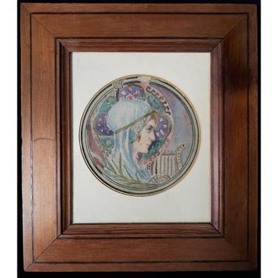 Miniature Fin XIXe Préraphaélite, Symboliste. Portrait Jeune Femme, Lyre.