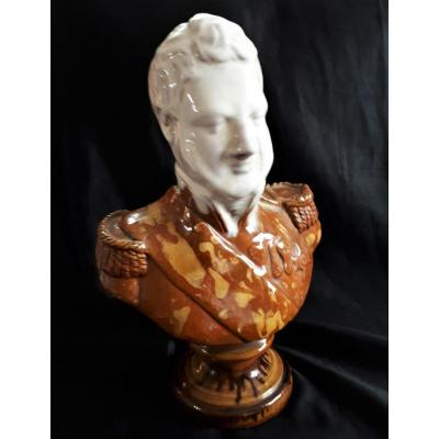 Louis-philippe - Bust In Glazed Terracotta - 19th Or Early 20th Century