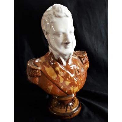 LOUIS-PHILIPPE - Buste en terre cuite vernissée  - XIXe ou Début XXe