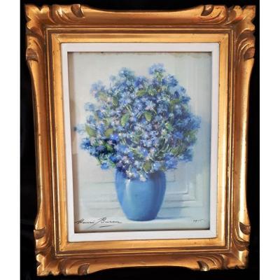 BURON Henri- Pastel - Le  Bouquet bleu.