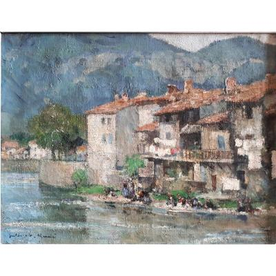 Jules René Hervé-lavandières On The Banks Of The Aude In Quillan By The
