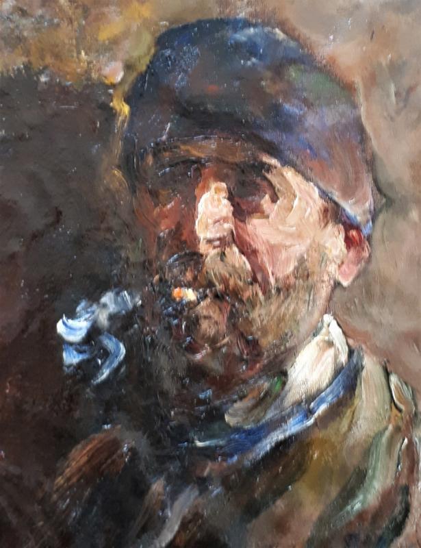 AUTOPORTRAIT de Peintre à la palette.  Mourellet ou Maurellet-photo-2