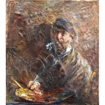 Self-portrait Of Painter At La Palette. Mourellet Or Maurellet