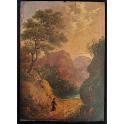 Romantic Landscape. Small Wood Panel. Nineteenth