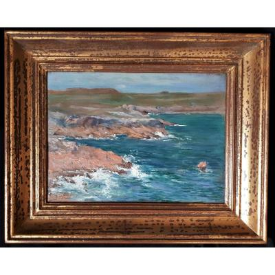Brindeau De Jarny - Rocky Coast, Sea. Official Painter Of The Navy. Early Twentieth.