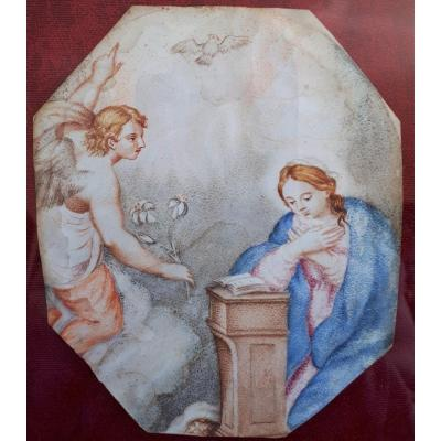 The Annunciation - Gouache On Vellum 17th Or Early 18th