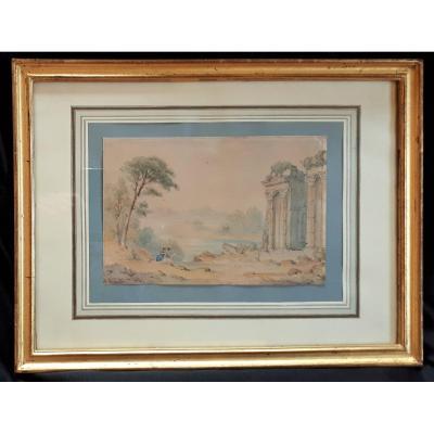 XIXe- Dessinatrices Devant Des Ruines Antiques. Signature à Identifier
