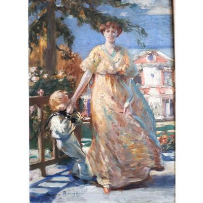 BAUGNIES Jacques -Vers 1900- Mère et Enfant en Tenue de Petit Marin, Matelot