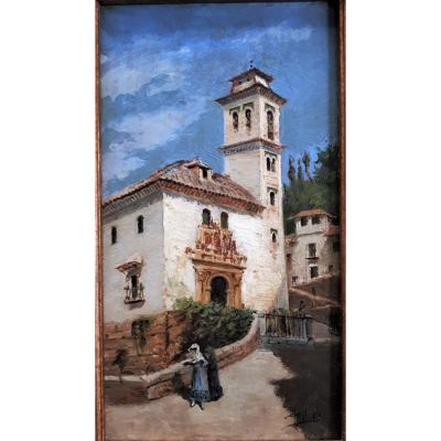 XIXth - Del Valle Juan De Dios- Granada, Church Of Santa Ana, Spain. Woman With A Fan.