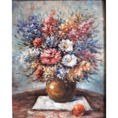 Bouquet De Fleurs  à La Pomme, Signé Boucher. XXe.