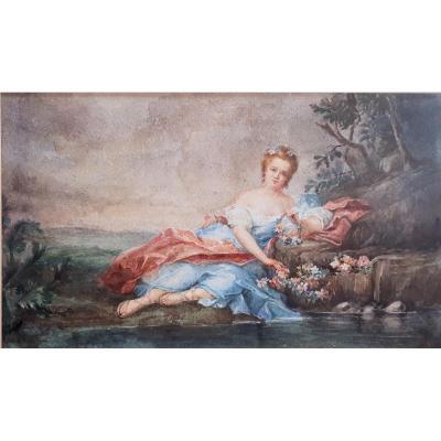 After Nattier-madame Henriette, Daughter Of Louis XV, In Flora.