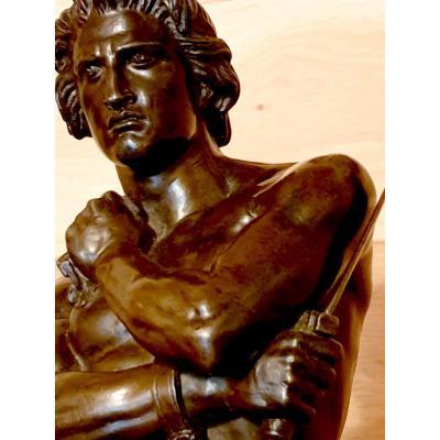 Spartacus - Bronze à Patine Brune De Denis Foyatier (1793-1863) - 40 Cm  - Signé Et Daté 1832