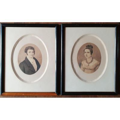 Paire De Portrait Dessin -  Aquarelle - Vers 1820/1830  - Couple - Homme & Femme
