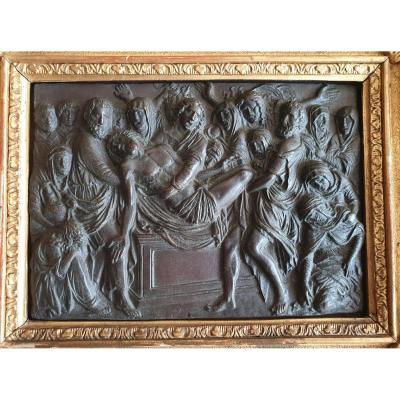 Bas Relief - Copper - Entombment - Jesus - XIXth Century - 19th