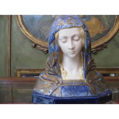 Buste En Céramique Signé Gambogi