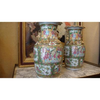 Paire De Vases Chine Canton