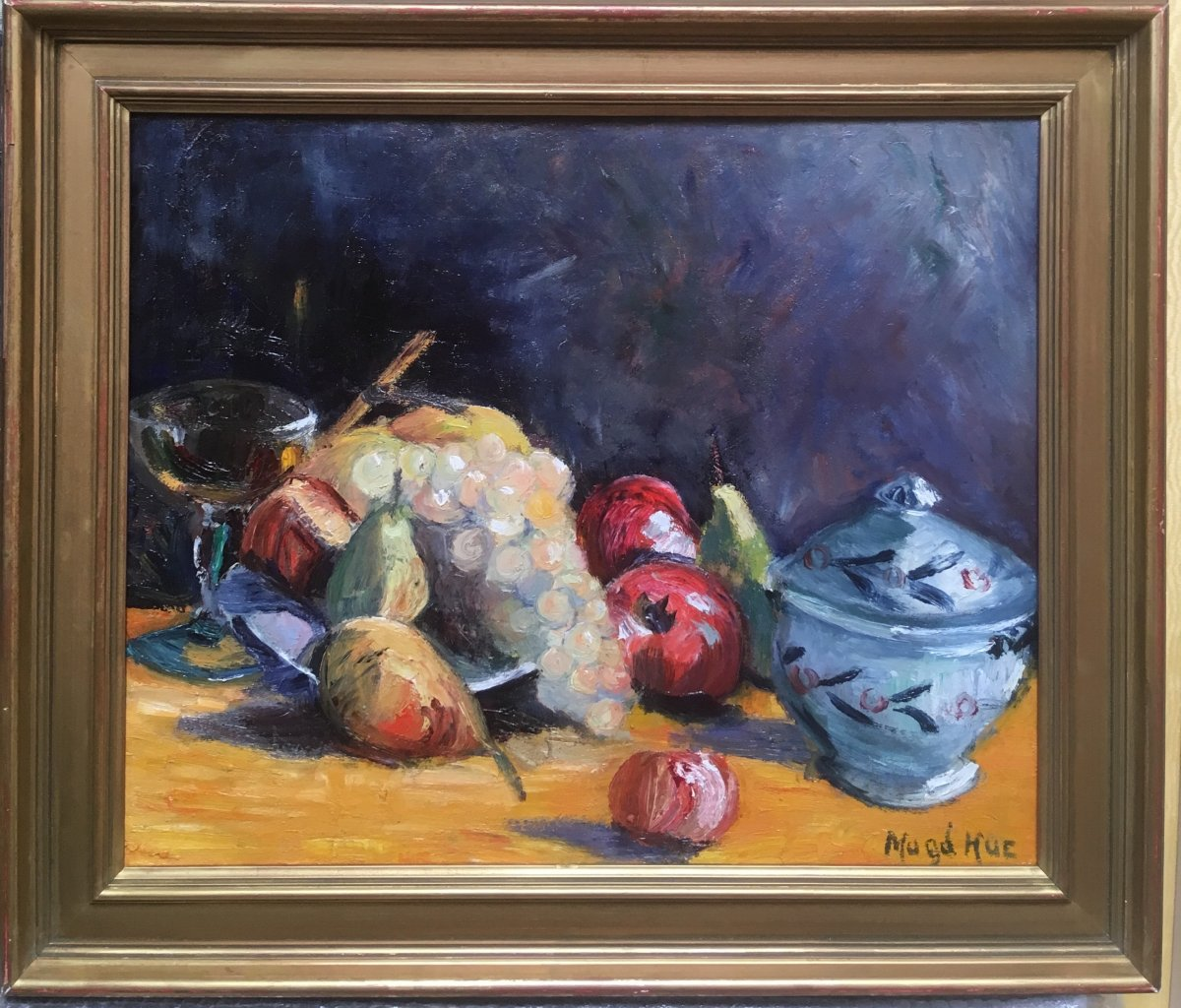Magdelaine Hue-1882-1944 Still Life With Fruit Oil On Canvas Signed Bottom Right 46 X 5