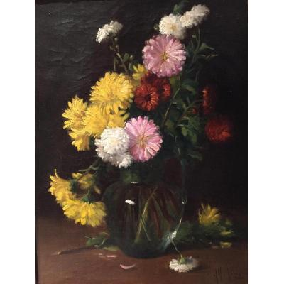 Alfred Magne (1855-1936) - Still Life With Flowers