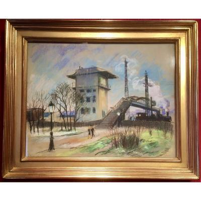 Pierre Le Trividic-1898-1960-Le train à vapeur -Cours la Reine à Rouen