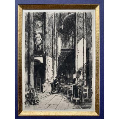 Adolphe Hervier (1818-1879) - Interieur D'Eglise