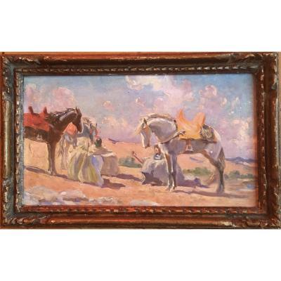 Maurice Romberg De Vaucorbeil (1861 / 62-1943) Rest Of The Arab Horsemen Oil On Panel S