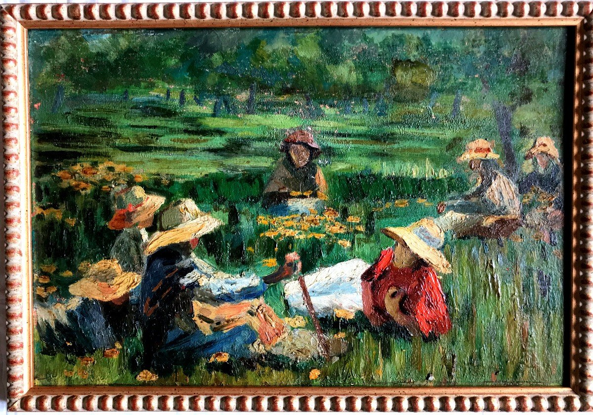Table, Peasants Resting In The Fields, Spanish School, Early Twentieth-photo-2