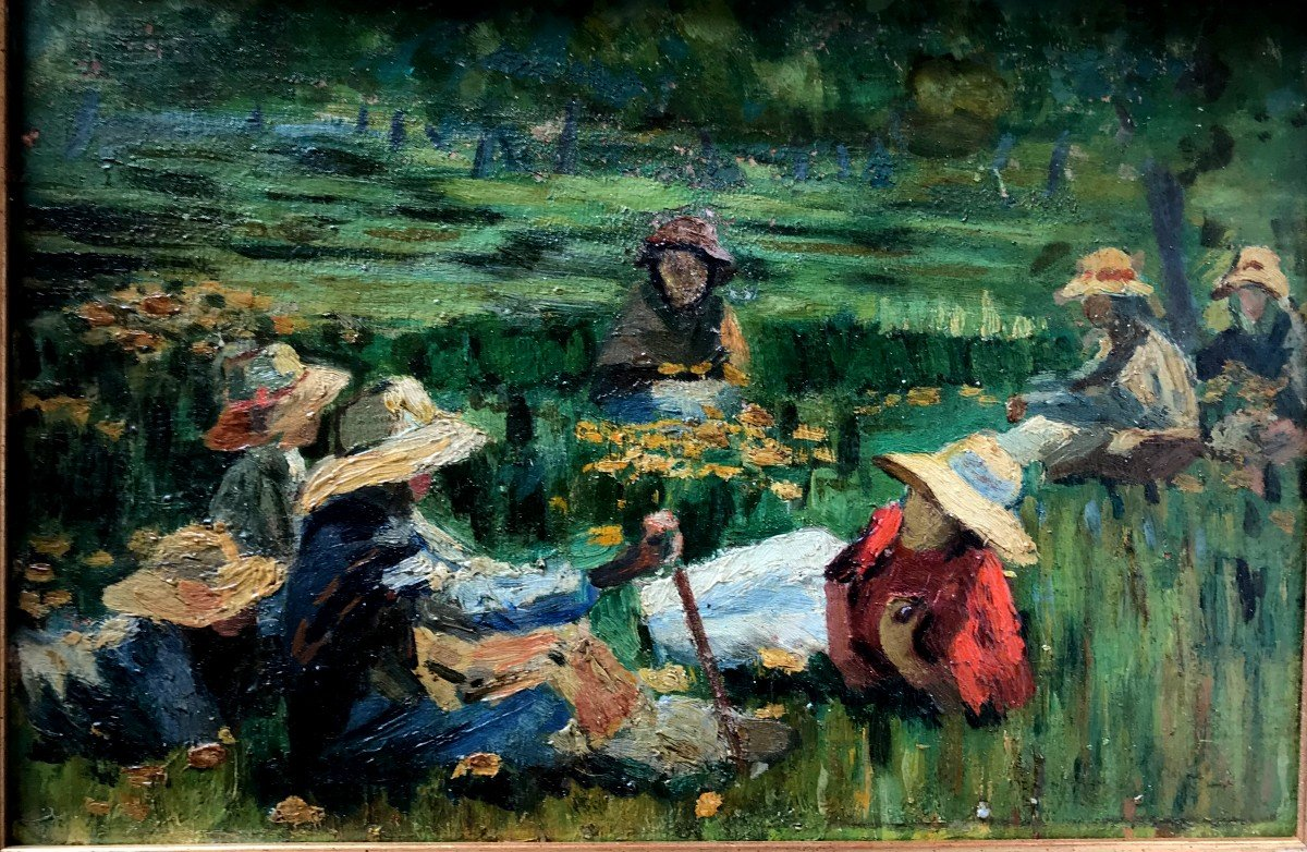 Table, Peasants Resting In The Fields, Spanish School, Early Twentieth-photo-3
