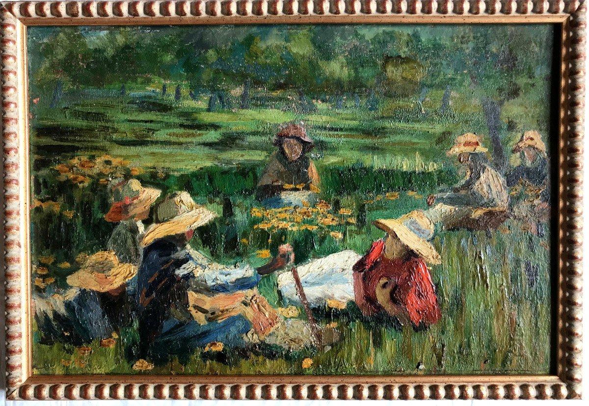 Table, Peasants Resting In The Fields, Spanish School, Early Twentieth