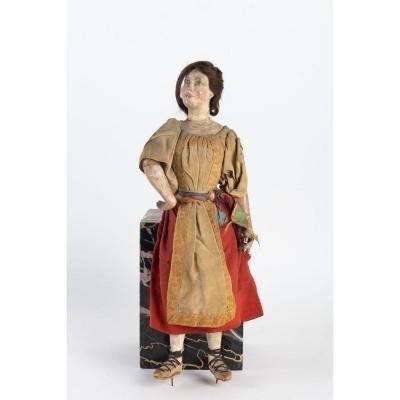 Grand Santon De La Crèche Napolitaine Représentant Une Femme, époque XVIII ème