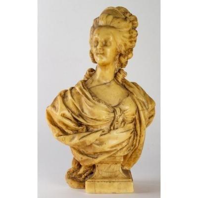 Buste De Marie - Antoinette En Cire, Signé De Léonite, époque XIX ème