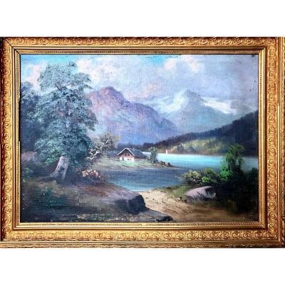 Tableau, Vue Sur Un Chalet de montagne En Suisse, Huile Sur Toile, Fin Du XIX ème