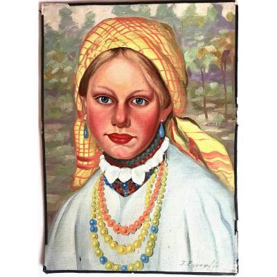 Tableau, Portrait d'Une Jeune Femme Russe De La Campagne, Début XX ème