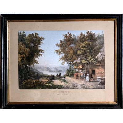 """"""" Vue sur le lac de THUN """" canton de Berne, aquatinte vers 1840-1850, de Thénot"""