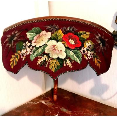 Corner Console With Tapestry Garnished With Flowers Embroidered With Pearls, XIXth Time