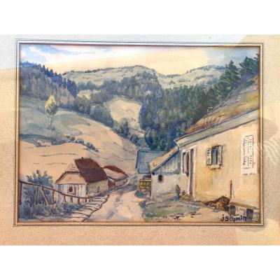 Tableau, vue des Vosges, aquarelle signée de J. Schmitt et datée de 1934
