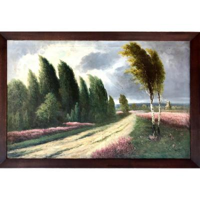 Table, Landscape At The Mill, Oil On Canvas Signed R. Willin, XIX