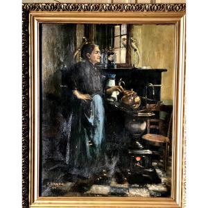 Tableau , Scène d'Intérieur ,femme En Cuisine, Huile Sur Toile Daté De 1916